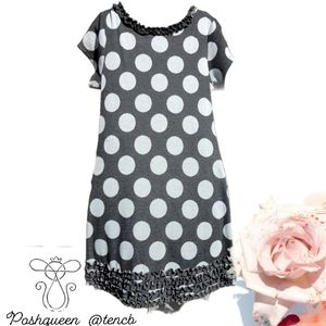 Bonnie Gray Ruffled Polka Dot Short Sleeve Dress